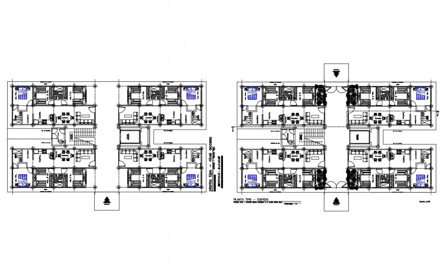Multi-family residential apartment building floor plan cad drawing details dwg file