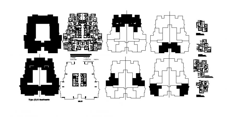 Multi-family residential apartment building floor plan details dwg file