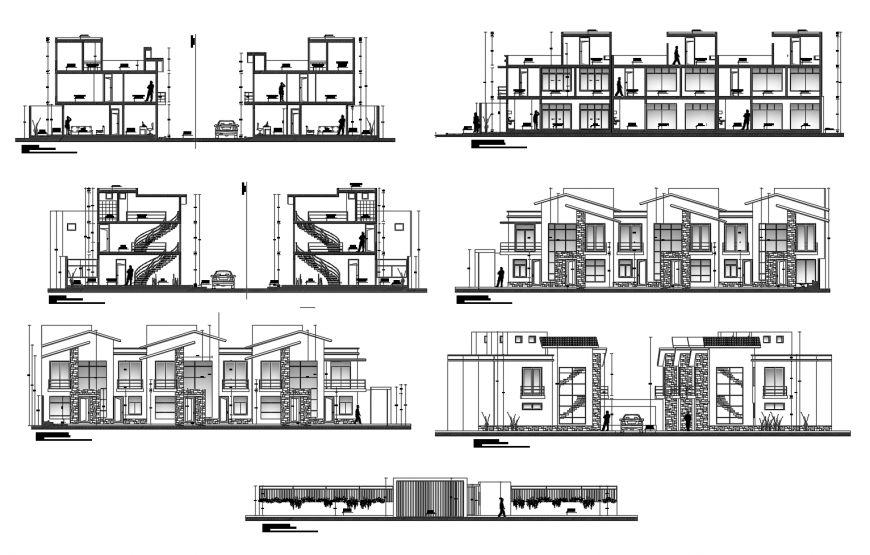 Multi-family residential building all sided elevation and section drawing details dwg file