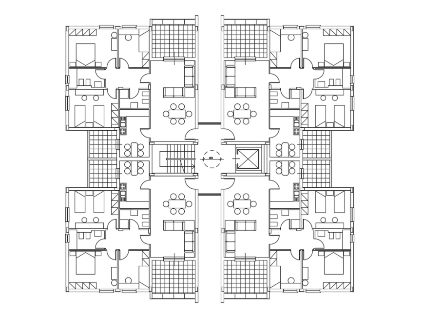 Multi-family residential building apartment layout plan cad drawing details dwg file