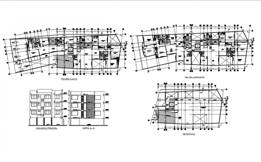 Multi-family residential building elevation, section, distribution plan and auto-cad details dwg file
