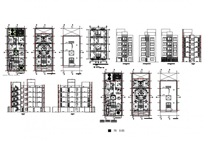 Multi-family residential building elevation, section and plan cad drawing details dwg file