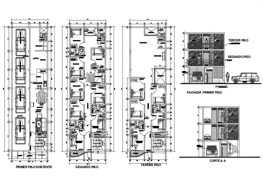 Multi-family residential building elevation, section and three floor plan details dwg file