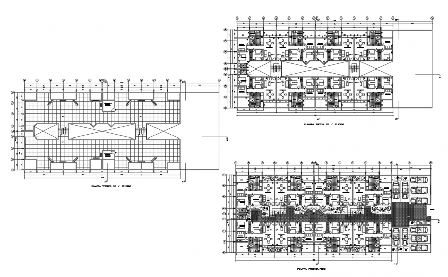 Multi-family residential building floor distribution with house plan cad drawing details dwg file