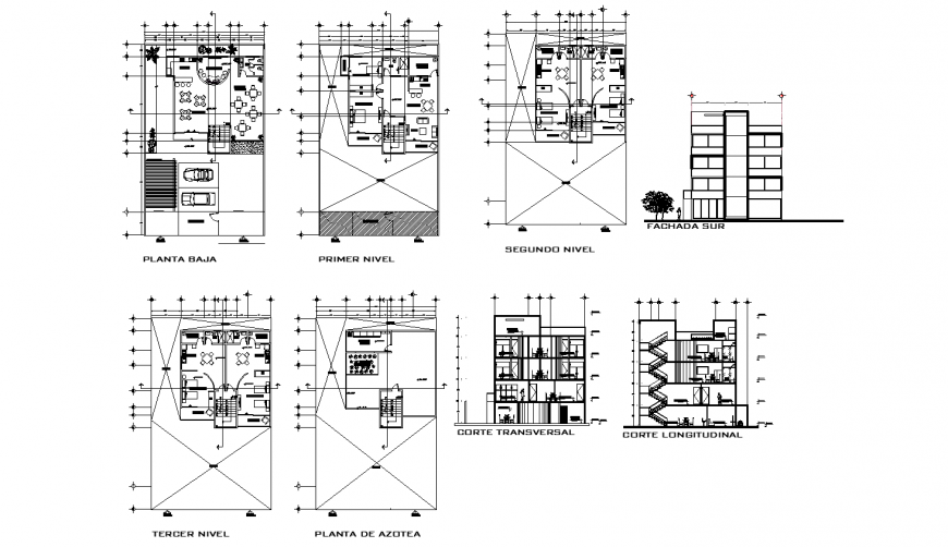 Multi-family residential building for students elevation, section and floor plan details dwg file