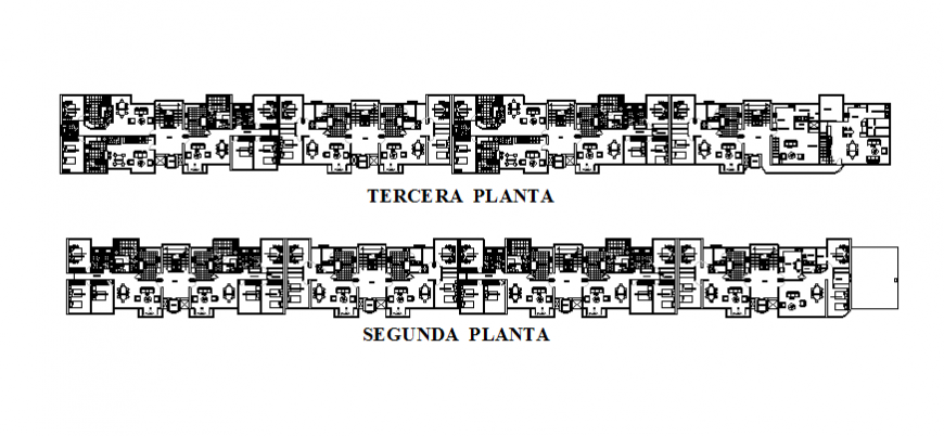 Multi-family residential building second and third floor layout plan details dwg file