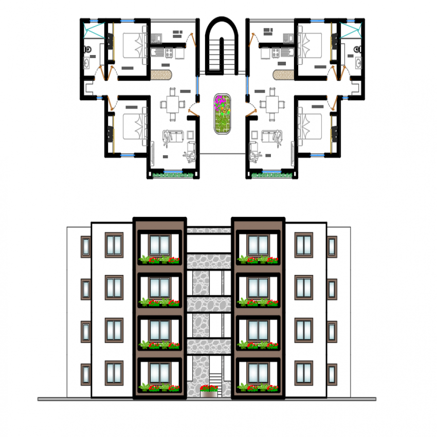 Multi-family residential housing apartment elevation and plan details dwg file