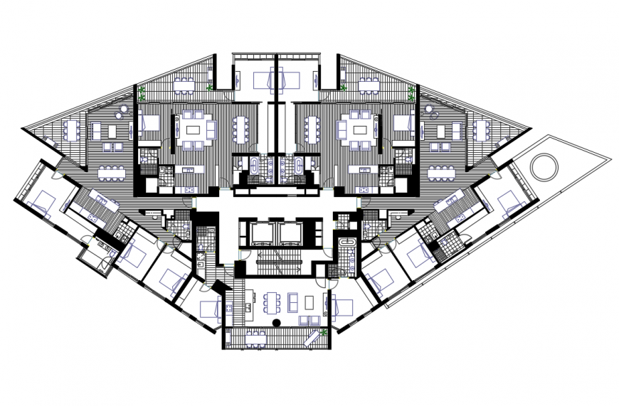 Multi-family residential tower building layout plan cad drawing details dwg file