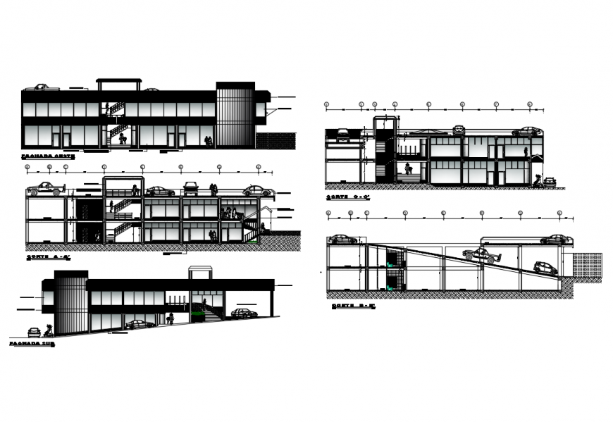 Multi-family two story residential building elevation and section details dwg file