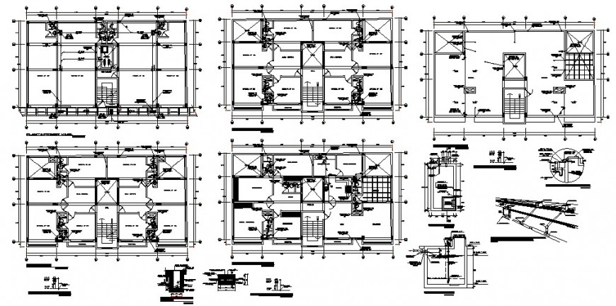 Multi-flooring building structure plan detail 2d view CAD construction block layout dwg file