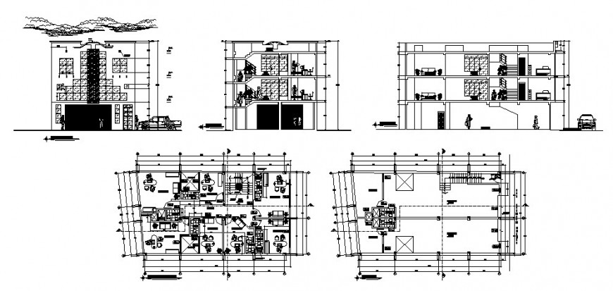Multi-flooring commercial complex building elevation, section and floor plan details dwg file