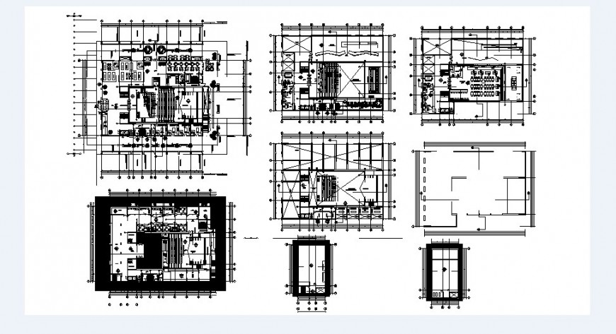 Multi-flooring corporate building floor plan and structure details dwg file