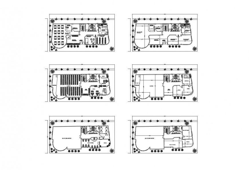 Multi-flooring cultural center building floor distribution plan cad drawing details dwg file