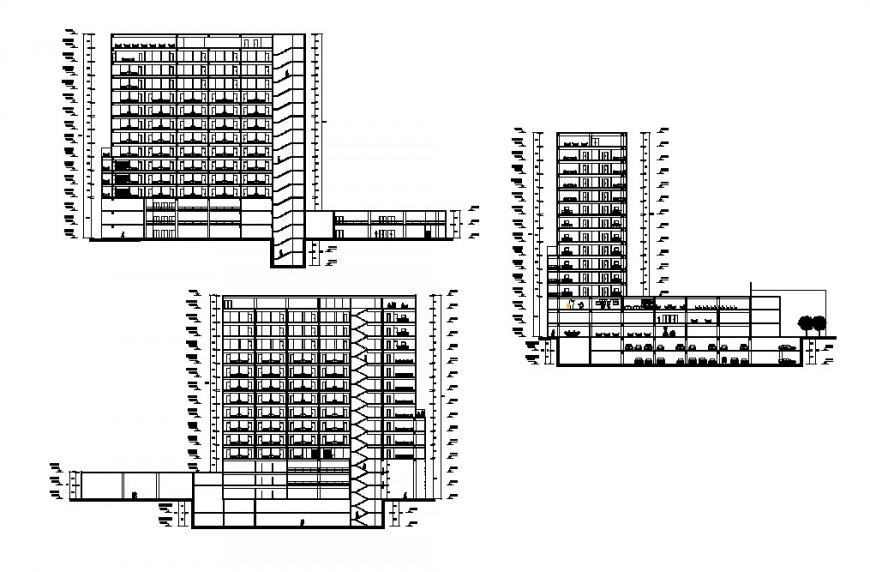 Multi-flooring education institute building elevation and section cad drawing details dwg file
