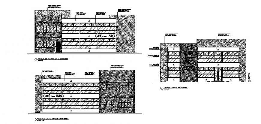Multi-flooring executive building all sided elevation cad drawing details dwg file