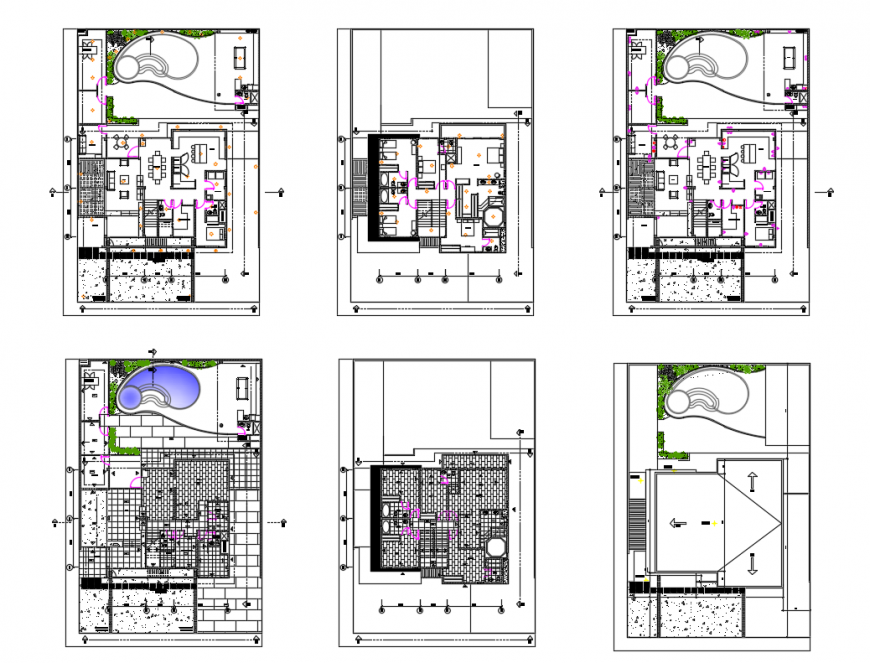 Multi-flooring golf club house floor plan and garden details dwg file