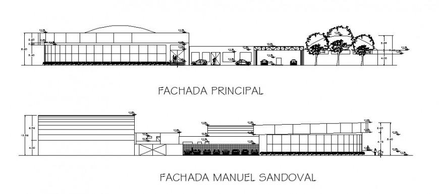 Multi-flooring hospital building main and back elevation cad drawing details dwg file