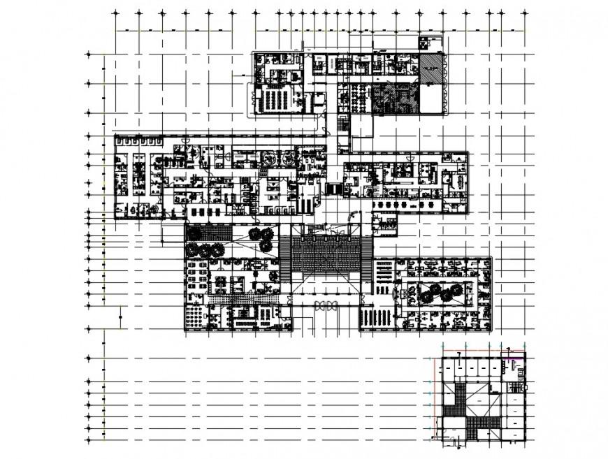 Multi-flooring hospital floor plan layout details dwg file