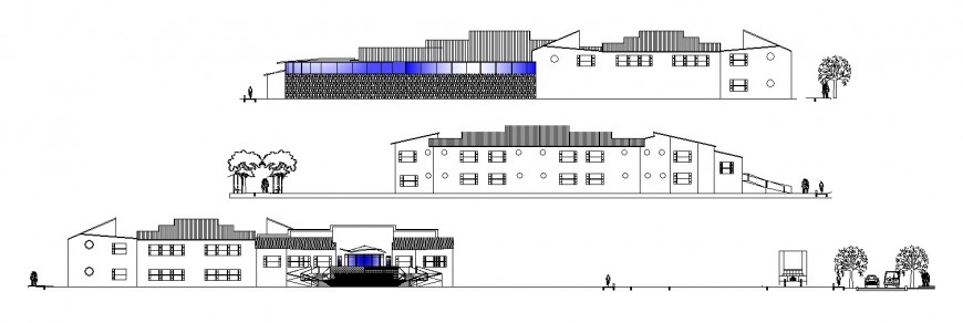 Multi-flooring hotel all sided elevation and lateral section drawing details dwg file