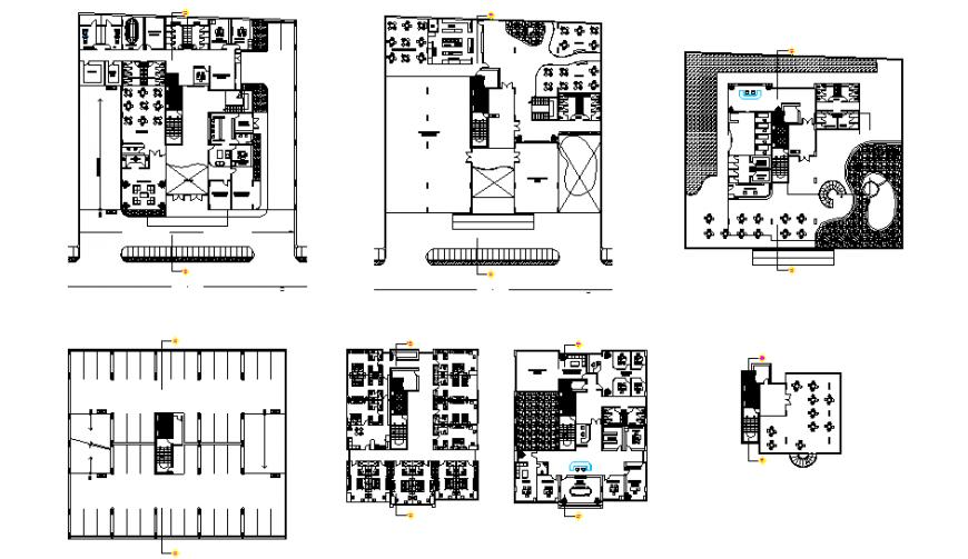 Multi-flooring hotel building all floors floor plan layout details dwg file