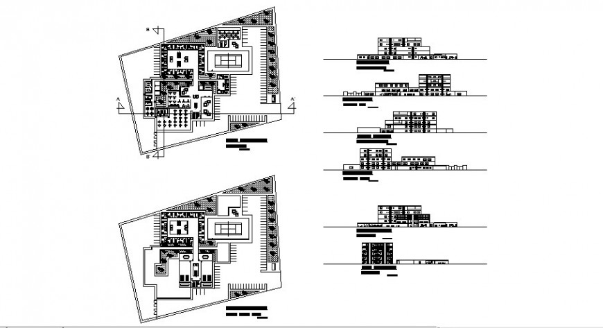 Multi-flooring hotel building all sided elevation, section and floor plan cad drawing details dwg file