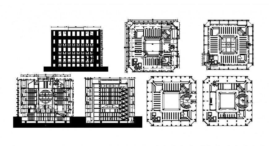 Multi-flooring hotel building elevation, section and floor framing plan details dwg file
