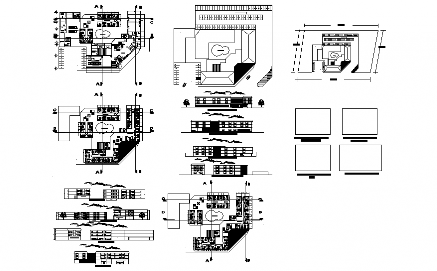 Multi-flooring hotel elevation, section, floor plan, cover plan and auto-cad details dwg file