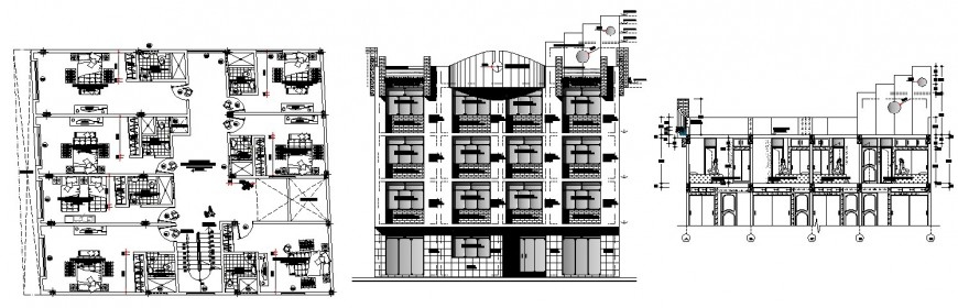 Multi-flooring hotel main elevation, section and first floor plan details dwg file