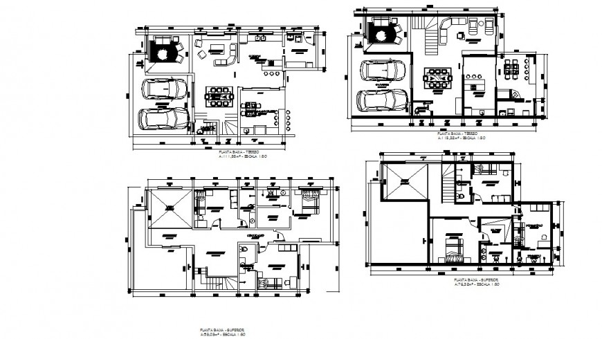 Multi-flooring house building floor plan distribution cad drawing details dwg file
