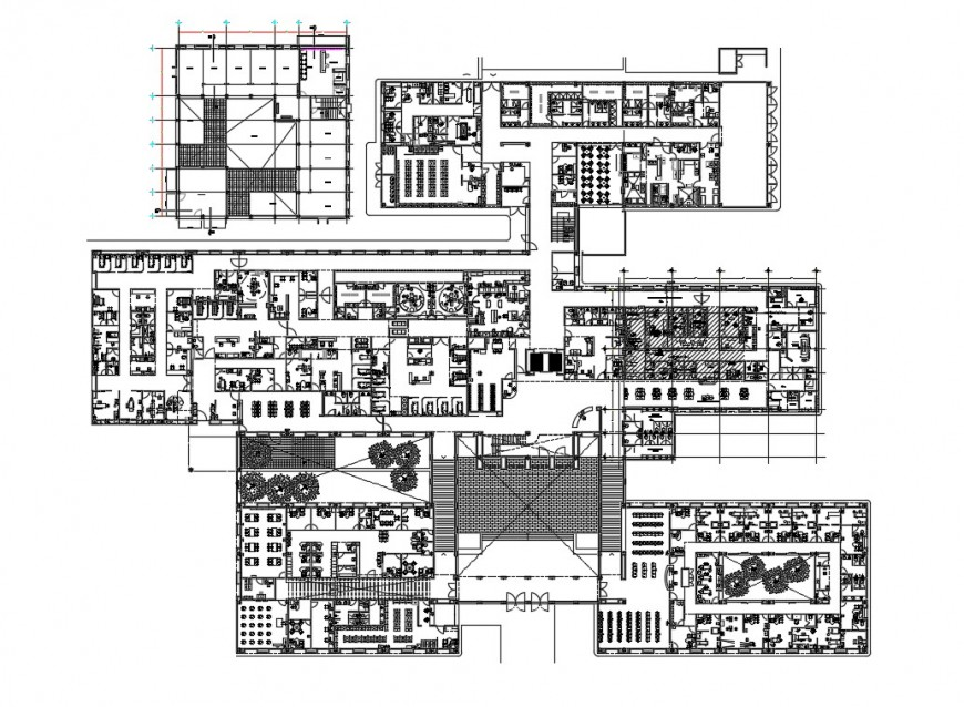 Multi-flooring multi-specialist hospital floors floor plan details dwg file