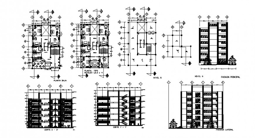 Multi-flooring office building elevation, section and floor plan cad drawing details dwg file