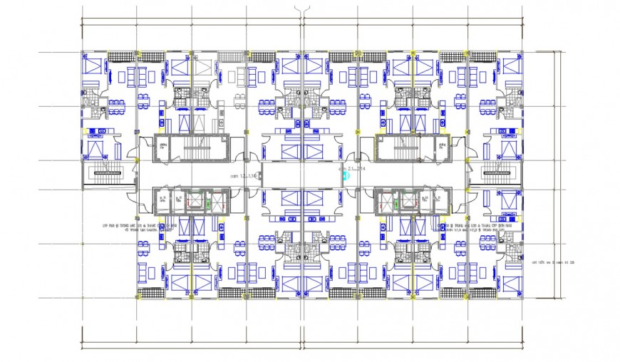 Multi-flooring residential building ground floor plan distribution details dwg file