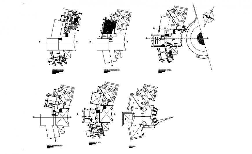 Multi-flooring residential housing building floor plan details dwg file