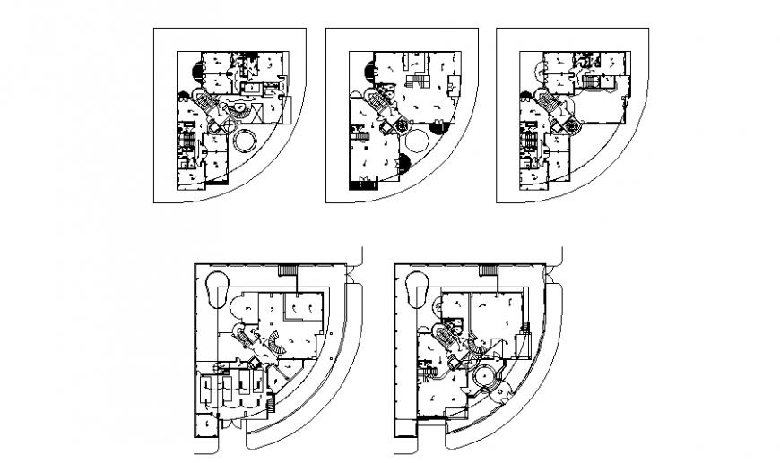 Multi-flooring residential villa all floors floor plan cad drawing details dwg file