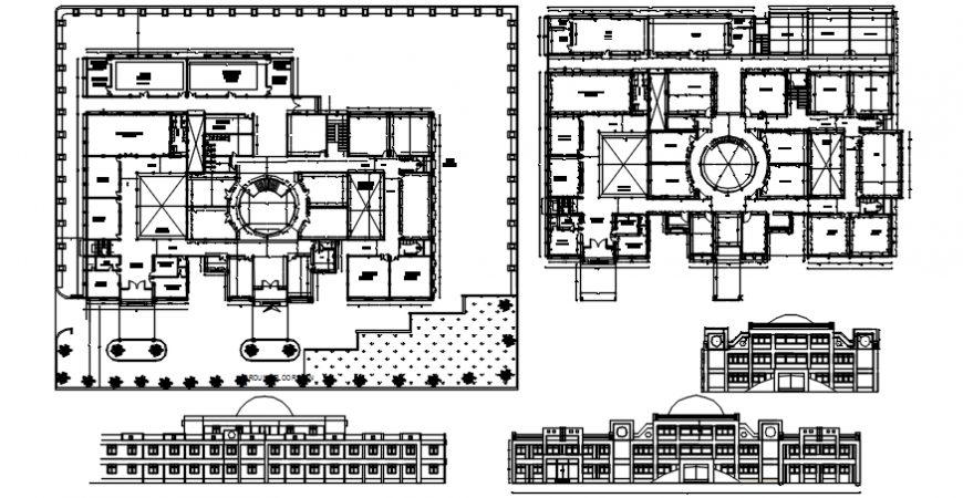 Multi-flooring school building all sided elevation and section and floor plan cad drawing details dwg file