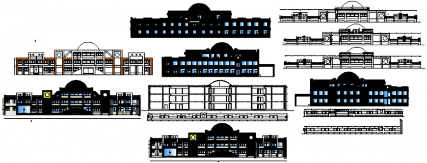 Multi-flooring school building all sided elevation and section cad drawing details dwg file
