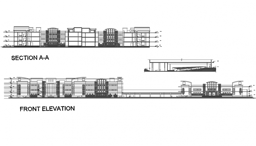 Multi-flooring school building main elevation and section drawing details dwg file