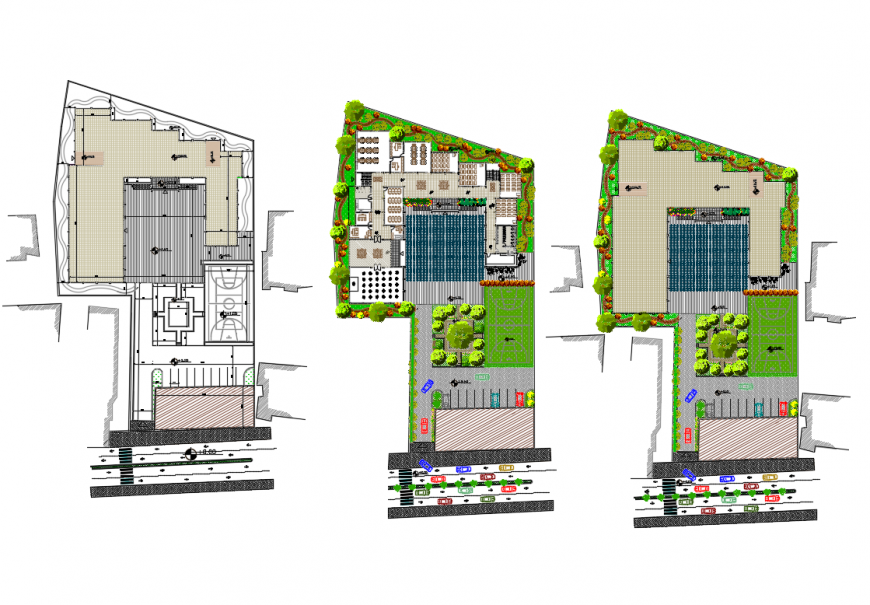 Multi-flooring school landscaping and structural layout plan details dwg file