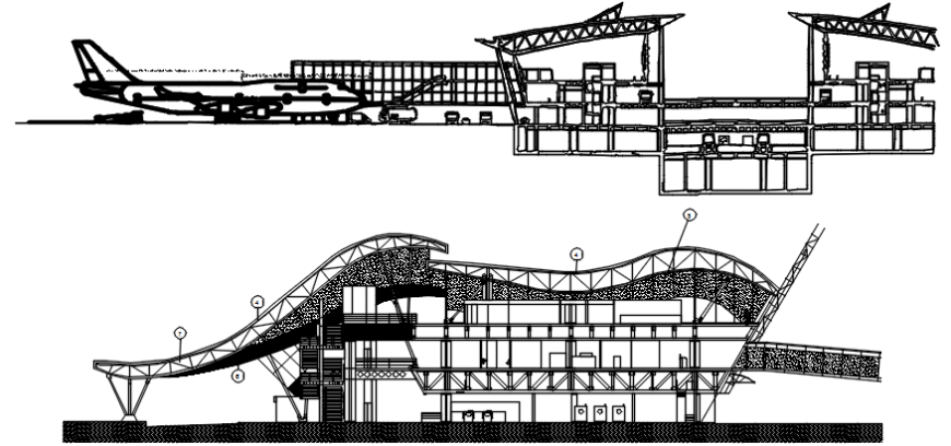 Multi-level airport building both sided section drawing details dwg file