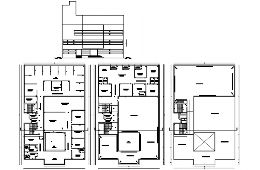 Multi-level apartment building main elevation and floor plan cad drawing details dwg file