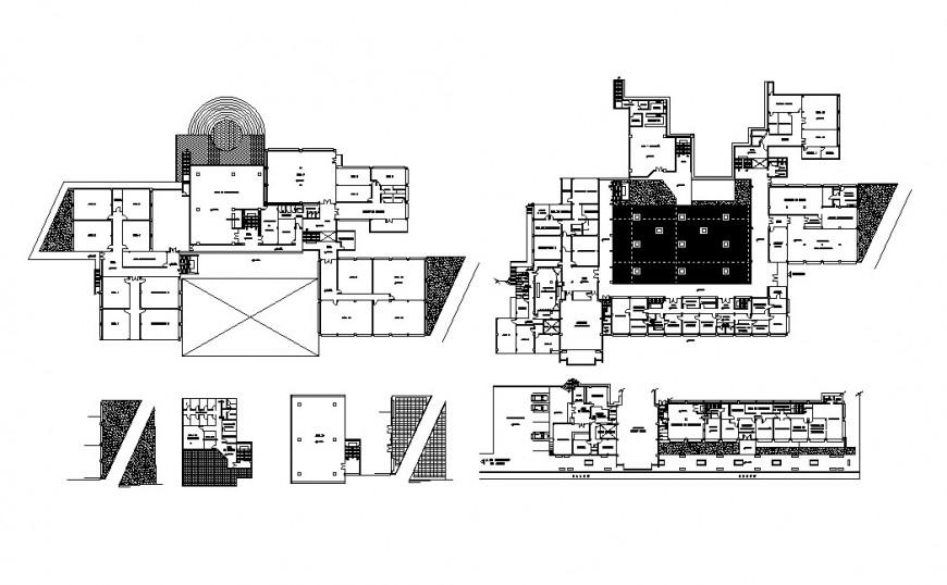 Multi-level architecture school building floor plan distribution cad drawing details dwg file