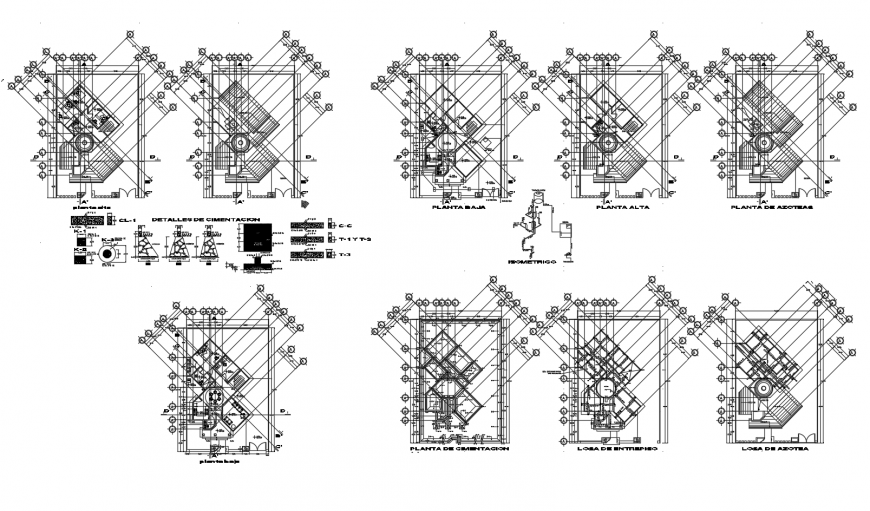 Multi-level building detail 2d view working plan autocad file