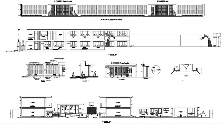 Multi-level college building elevation, section, gate and fence and auto-cad drawing details dwg file