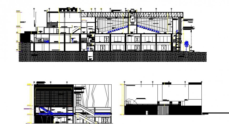 Multi-level college building elevations and sections drawing details dwg file