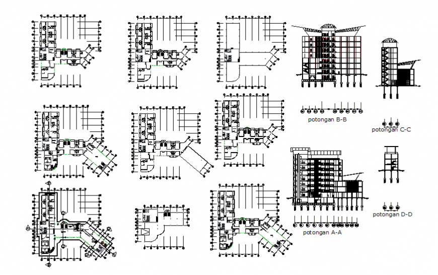 Multi-level corporate building elevation, section and floor plan details dwg file