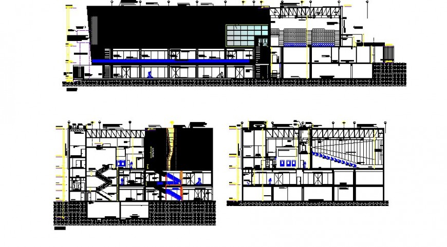 Multi-level education building elevation and section drawing details dwg file