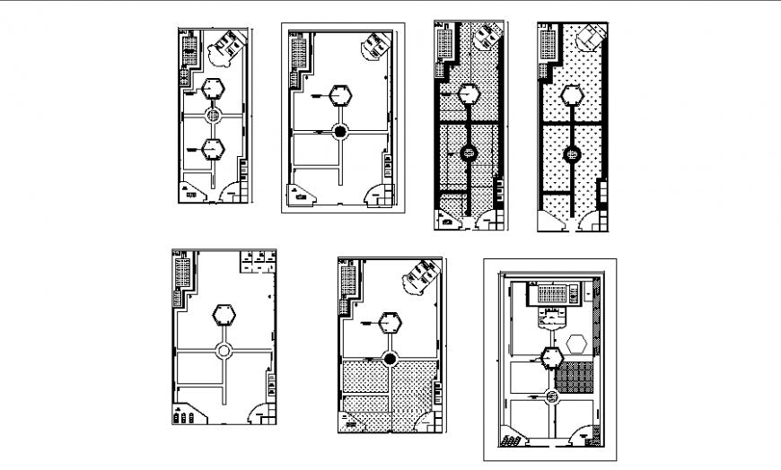 Multi-level farm house floor plan layout details dwg file