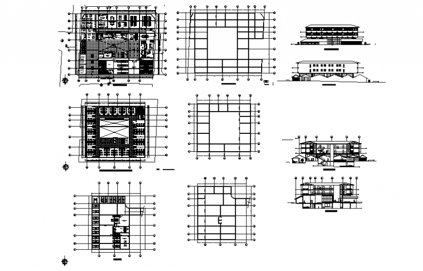 Multi-level ferry hotel elevation, section, floor plan and auto-cad details dwg file