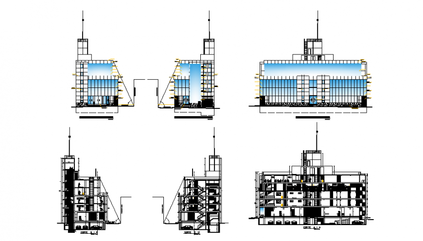 Multi-level five star hotel all sided elevation and sectional details dwg file
