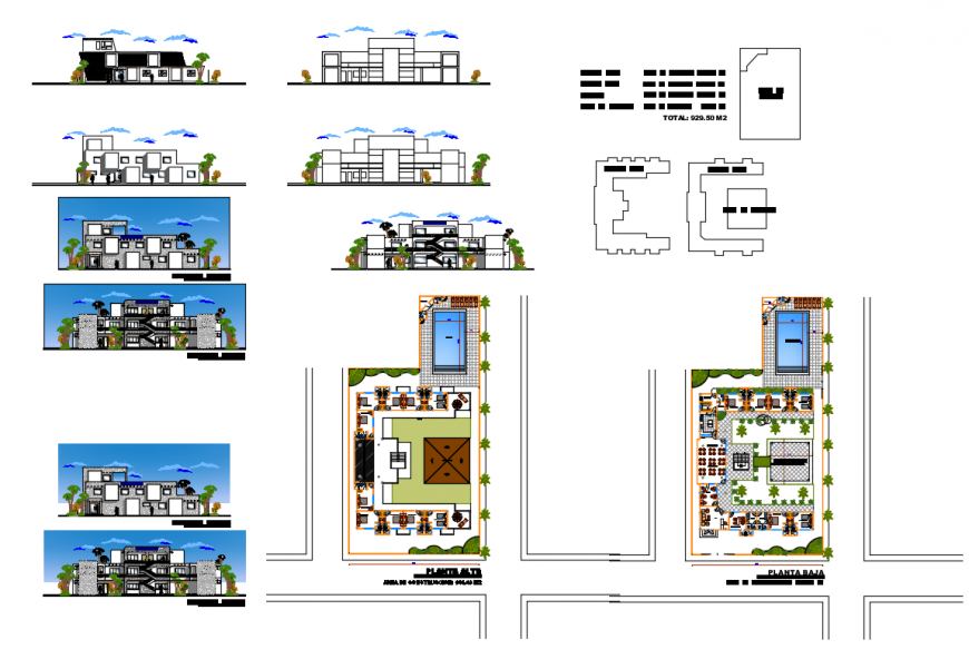 Multi-level hostel all sided elevation and floor plan details dwg file